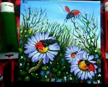How to draw/paint flower garden
