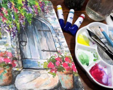 Very Easy Garden Door Real-Time Watercolor Painting Tutorial for Beginners