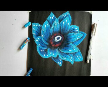 Flower oil pastel drawing easy/drawing on black paper with oil