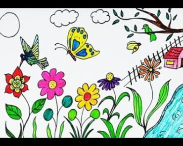 HOW TO DRAW EASY FLOWER SCENERY FOR KIDS || HOW