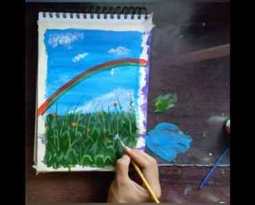 how to draw garden scenery with rainbow //beautiful flower drowning