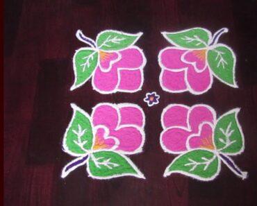 Easy Flower Rangoli Design With Dots | 8