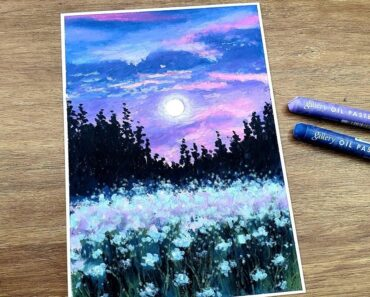 Flower garden shining in the moonlight/ Oil pastel drawing #