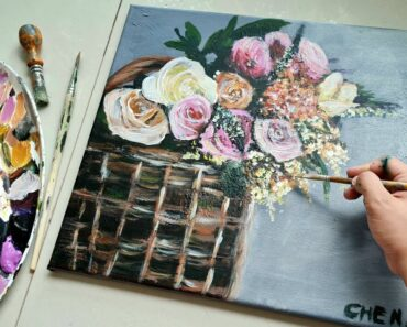 A Basket of Flowers| Acrylic Painting Tutorial for beginners