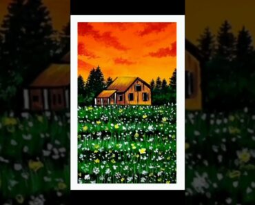 #shorts garden house scenery painting ️|| easy painting tutorial for