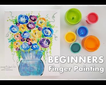 Finger Painting Flowers in a Vase BEGINNERS Technique Maremi's Small