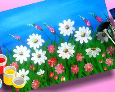 Easy Daisy Flower Garden Painting For Beginners    Beautiful Garden  