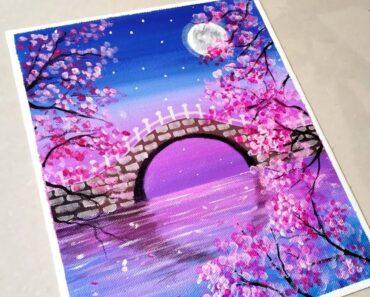 Beautiful Moonlight Cherry Blossom Bridge Scenery Painting for Beginners/ Easy